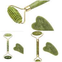 Xiuyan Jade rouleau Massor bâton anti-rides massage beauté instrument en forme de coeur Guasha Conseil de la peau Outils de soins 5HH D2