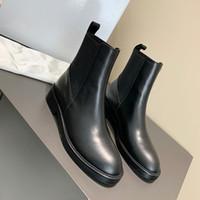 2020 Hochwertige Designer Frauen Ankle Boots aus echtem Leder Elastische Stiefel Frauen flache Ferse Kurz Booties lässige Stiefel Größe 35-41With Box