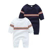 Baby-Designer-Overall-Frühlings-Herbst-Jungen-Streifen Langarm-Climbing Kleidung Newborn Streifen Baumwolle Body Unterwäsche Pyjamas S381