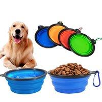 US Ship Pet Hond Bowl 1000ml Universele Draagbare Reizen Water Voeding Voeding Kom voor Grote Honden Siliconen Feeder Pet Supplies Producten