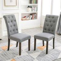 와코 하이 백 다이닝 의자, 2pcs 단단한 나무 다리, 귀족 스타일 Houtel Dinning 룸 레스토랑 의자 회색