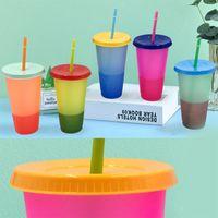 24 uncji z tworzywa sztucznego Color Cup PP Materiał Temperatura Wykrywanie Cups Magic 700ml Tumblers z pokrywką i słomy picia kubek mody