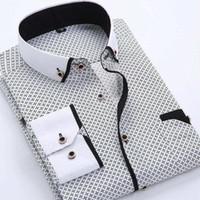 Sesga vestido camisas diseñador casual delgado ajuste manga larga camisa de negocios masculino dot impresión otoño de algodón formal camisas hombres nueva marca