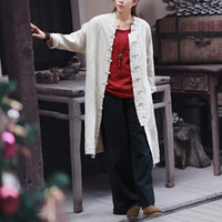Women Cotton Linen Retro Handmade Button Long Coat Trench Ca...