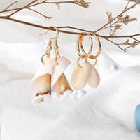 2020 Nuova moda boemo naturale di Shell del cerchio degli orecchini di goccia per le donne Summer Beach ciondola gli orecchini di rame gancio dell'orecchino dei monili regalo
