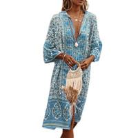 Kadınlar Vintage Çiçek Baskılı Elbise Derin V Yaka Ön Split Tatil Boho Stili Gevşek Midi Elbise