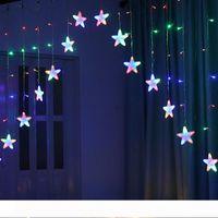 BRELONG 8 patrones de la estrella del LED enciende la secuencia de cortina cubierta impermeable al aire libre luces de cadena Luces de Navidad blanco caliente multicolor