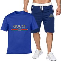 Hommes d'été Ensembles à manches courtes Imprimer gucci Survêtement Hommes Vêtements de sport Casual 2 Set Pieces T-Shirt + Shorts vêtements pour hommes Costumes Slim sport