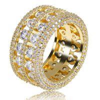 Bague plaquée de couleurs en or de la mode pour hommes Exagère de haute qualité glaçonné de tennis de tennis de pierre CZ