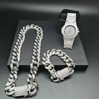 2cm hip hop ouro cor gelado de cristal Miami Chain Chain Corrente de Ouro Homens de Prata Assista Colar Pulseira Set Hip Hop King Novo