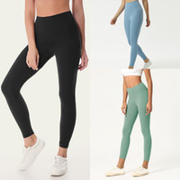 Сплошной цвет Женщины йоги брюки высокой талией Спортивный зал Wear Леггинсы Упругие Фитнес Леди Общие Полный Колготы тренировки XS-XL