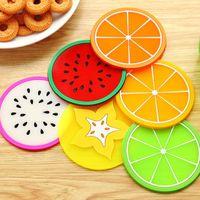 Patrón estera de la taza de ratón colorido de la fruta soporte amortiguador de silicona Copa gruesa Bebida Vajilla Coaster Taza YYA175