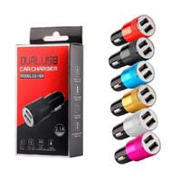 Dual USB порты сплава металлические универсальные 2.1a автомобильные зарядные зарядные зарядные устройства для iPhone X XR 11 12 Pro Max 13 Samsung PC MP3 GPS Android телефон с коробкой
