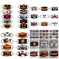 Hallowmas Lustige Schädel-Gesichtsmaske PM2.5 Staubdichtes Clown Masken Waschbar Antistaub-Kürbis-Druck Designer Masken 33styles RRA3362