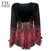 المرأة البلوزات قمصان YTL المرأة الكبيرة الماس مضيئة كم نمط خليط الأزهار طباعة خمر كيمونو نمط ضئيلة بالإضافة إلى قميص مجوهرات الأعلى
