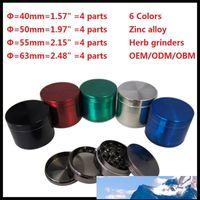 4 partes de molinos de metal amoladora de la hierba de tabaco rápida smooking herramientas Dia 40/50/55 / 63mm CNC filtro dientes Artículos de fumar de 6 colores A015