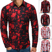 Autumn Male Designer Shirts Slim Floral Printed Long Sleeve ...