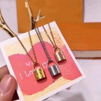 En Kaliteli Lüks Takı Gümüş Gül Altın Kilit Kolye Tasarımcısı Kolye 18 K Altın Paslanmaz Zincir Kadın Kolye Ücretsiz Kargo