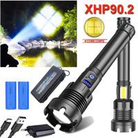 300000 LM XHP90.2 En Güçlü LED USB Şarj edilebilir LED Ekran Torch XHP90 XHP70 El Lambası 18650 Taktik Hafif