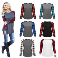 Plus Size Plaid Panel Raglan Women T Shirt Long Sleeve Patchwork Blouse T-shirt Spring Autumn Pullover Casual Shirts Tops Ladies Top Clothes