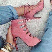 Dipsloot verano nueva mujer de ante Cruz Lace Up corta Gladiador jaula sandalias del estilete de los talones del pío de las sandalias del dedo del pie zapatos Nave de la gota