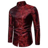 همية الحرير بيزلي سهرة قمصان الخريف الشارع الشهير كم طويل قميص رجالي حامل مكتب الياقة القميص الرجال الكبير وطويل القامة حجم XXL