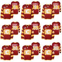 Calgary Flames Johnny Gaudreau Miras Klasik 2011 Isınma Kırmızı Jersey Lanny McDonald Matthew Tkachuk Joe Nieuwendyk Jarome Iginla