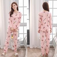 Sevimli Kadın Giyim Yaz Kadın Pijama Uzun kollu pijamalar Suits Kız Moda Günlük Dış Giyim pijamalar Gece Suit ayarlar