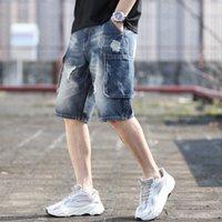 Мужские джинсы Летнее колена Длина джинсовые шорты разорванные поцарапанные отверстия Большие карманные короткие брюки Blue Cargo Plus размер