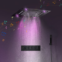 Bathroom Accessories Bluetooth Music Shower Head Set Matt Black Shower Panel Massage Bath Shower Faucet Thermostatic Valve Mixer