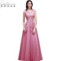 Babyonlinedress Robe De Soiree Longue Lace Beaded Evening Dress Sexy Illusion A Line Burgundy Prom Dresses Vestido de Festa cps299