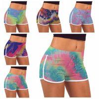 Tie-Dye Shorts Estate Stretch Lift Hot Pants Hot Pants Girls Slim Casual Pants High Vita Fitness Leggings Yoga Shorts Stampato Workout BC7570