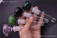 Difusor de cristal downstem Reductor sobre el vidrio downstem 14 / 18MM 19MM de 4 pulgadas a 14 mm hacia abajo del tubo de cristal hacia abajo del tubo de vástago con plato colorido