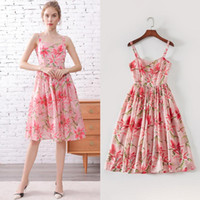 Summer 2020 in Europe and the United States a new sweet sling waist show thin ladies fashion printing holiday dress trend