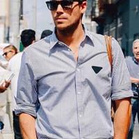2020 homens casal listrado T-shirt das senhoras verão e outono T da forma do bordado top de mangas compridas