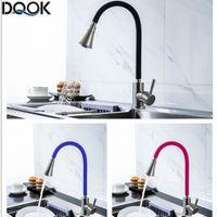 DQOK Силикагель нос любого направления вращения кухонного кран холодное и горячий Black Blue Water Смеситель Красной однорычажный кухонный кран T200710