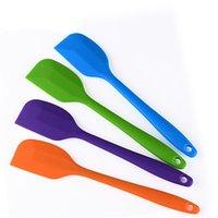 Jugo de silicona suave rasquetas de sopa Jam Stir elástico Pala cuchara larga para hornear Cocina Cafetera Mercancías raspador colgantes agujero colorido 1 3 canales C2