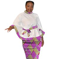 Dashiki Print Flare Sleeve Tops With Belt And Pencil Skirts ...