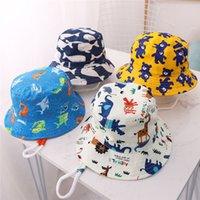 Mais novo bebê Bucket Chapéus Animais Imprimir Primavera Meninos Meninas do verão do bebê à prova de vento Sunhat Algodão Ao Ar Livre Viagem chapéus de sol da criança Crianças Caps Top