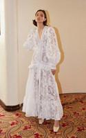 2020ニューサウスフランスレディスタイルエレガントレトロなドレスホワイトレース刺繍の重工業フルスカートドレスホリデードレス