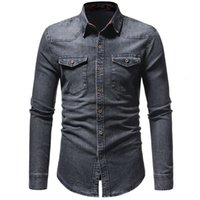 Camisas casuales de los hombres 2021 primavera para hombre lavado Demin mangas largas Slim Fit Jean para hombres Vaqueros Camisetas Tops Classic Hombre Outerwear