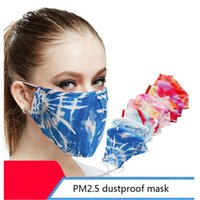 Cotton Cloth Masks PM2.5 Dustproof Masks Washable Tie-dyed Half Face mask Adult Breathable Reusable Masks YYA241