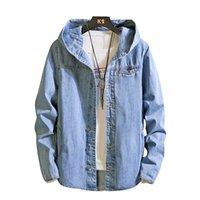 Nuovi uomini autunno Casual Giacca di jeans del cotone del Mens colore solido con cappuccio del rivestimento del cappotto Slim Fit asiatici dimensioni Jacket Top