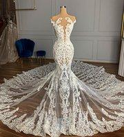 2021 Plus Size arabo Aso Ebi lussuosa Vintage Mermaid Abiti da sposa in pizzo in rilievo pura collo nuziale abiti sexy abiti da sposa