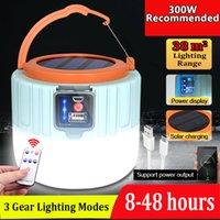 الطاقة الشمسية خيمة LED التخييم الخفيفة في الهواء الطلق ضوء التحكم عن بعد مصابيح الطوارئ مصباح 300W USB قابلة للشحن لمبة لBBQ