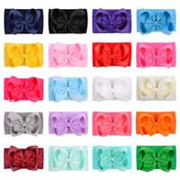 Baby-Mädchen-Bogen-Stirnband-Kinder-Nylon elastische Bowknot Haarbänder Haarschmuck Gros Grain Haar-Band-Turban-Knoten Kopfschmuck