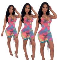 2020 Yaz Kadın Kayma Elbise Batik BODYCON Etek Moda Pileli Tasarımcı Mini modelleri kısa kollu Seksi Etekler Gece Kulübü Giyim LY7282