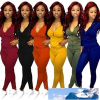 Women solid color 2 two piece tracksuits zipper jacket hoodi...