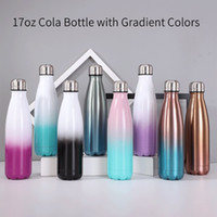 8 Color Gradient 17oz Cola Shaped Water Bottle with Leakproo...