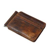 Neue Luxus-Retro-Qualitäts-echtes Leder-Bifold Geldklammer Wallet Men Kartenhalter spezielle Entwurfs-Geldbeutel-Clamp-Kartenhalter